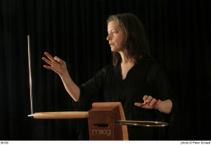 Elizabeth Brown performing on theremin