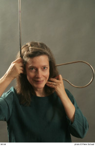 Elizabeth Brown, composer (w/ theremin ears)