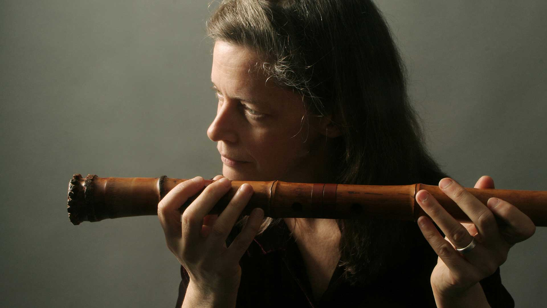 Elizabeth Brown with shakuhachi